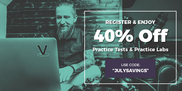 40% off practice tests and labs. Man studying CyberVista course at his computer